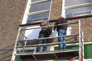 Montage hogeschool hbo nederland aluminium freesletters gevel