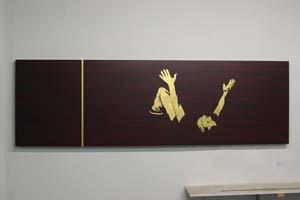 Moderne kunst bladgoud op hout