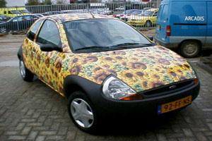 Carwrap zonnebloemen