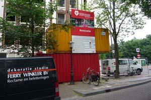 Bouw bord zeecontainer amsterdam