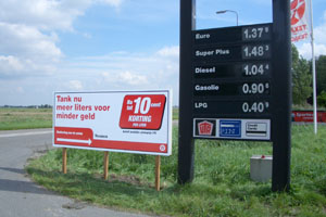 Reclamebord texaco tankstation