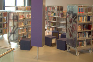 Bibliotheek full color fotopanelen op glas