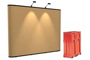 Instand gateway pop up beursstand met fabric panelen en zwee halogeenlampen