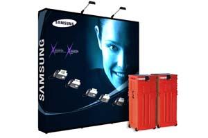 Instand gateway pop up beursstand met graphic panelen en zwee halogeenlampen