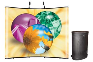 Ideal pop up beursstand met graphic panelen en zwee halogeenlampen