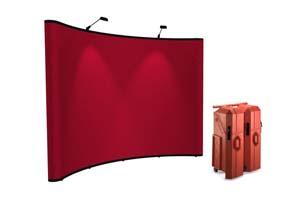 Instand neptune pop up beursstand met fabric panelen en zwee halogeenlampen